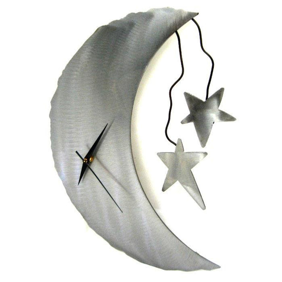 Metallic Evolution Moon and Stars Steel Wall Clock Artisan Crafted Wall Clocks
