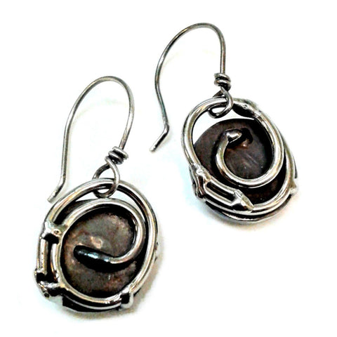 Metallic Evolution Nest Stainless Steel Earrings Artisan Crafted Jewelry