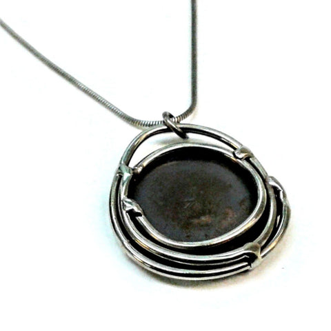 Metallic Evolution Nest Stainless Steel Pendant Necklace Artisan Crafted Jewelry