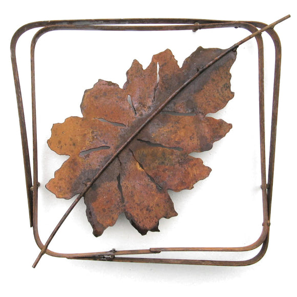 Metallic Evolution Outdoor Beech Leaf Steel Frame XL LFRX-08, Small LFR-08, Artistic Artisan Sculptural Metal Wall Art