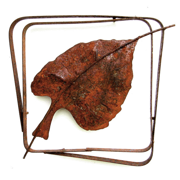 Metallic Evolution Outdoor Cottonwood Leaf Steel Frame XL LFRX-09, Small LFR-04, Artistic Artisan Sculptural Metal Wall Art