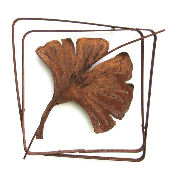 Metallic Evolution Outdoor Gingko Leaf Steel Frame XL LFRX-07, Small LFR-07, Artistic Artisan Sculptural Metal Wall Art