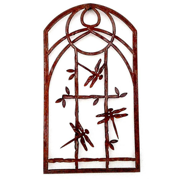 Metallic Evolution Outdoor Indoor Arch Dragonfly Panel Artisan Crafted Sculptural Wall Art