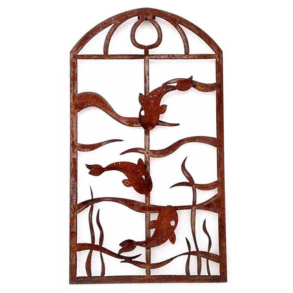 Metallic Evolution Outdoor Indoor Arch Fish Panel Artisan Crafted Sculptural Wall Art
