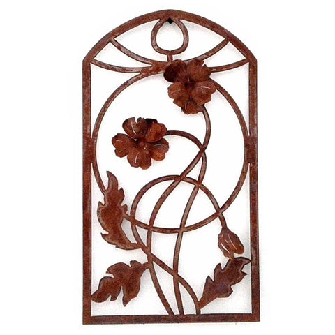 Metallic Evolution Outdoor Indoor Arch Poppy Panel Artisan Crafted Sculptural Wall Art