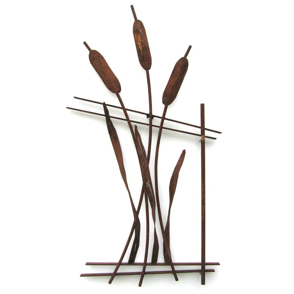 Metallic Evolution Outdoor Steel Bulrush Fence Sculpture FNC-02, Artistic Artisan Metal Wall Art