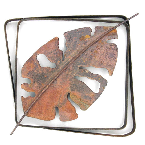 Metallic Evolution Outdoor Tropical Leaf Steel Frame XL LFRX-04, Small LFR-04,  Artistic Artisan Sculptural Metal Wall Art