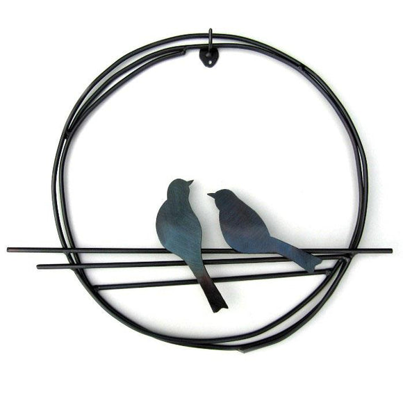 Metallic Evolution Pair of Steel or Natural Rust Finish Birds on a Ring Artisan Crafted Sculptural Wall Art