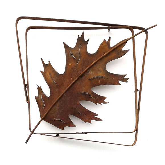 Metallic Evolution Red Oak Leaf Natural Rust Frame Artisan Crafted Sculptural Wall Art