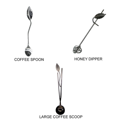Metallic Evolution Stainless Steel Kitchen and Serving Utensils Set Large Coffee Scoop Coffee Spoon and Honey Dipper Artisan Crafted Servingware