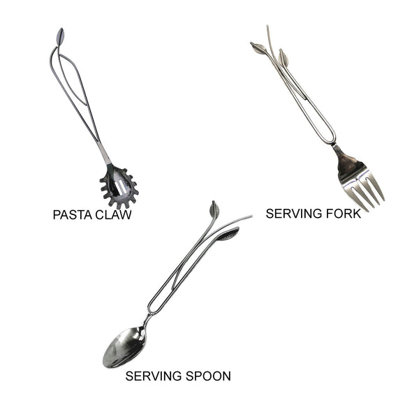 Metallic Evolution Stainless Steel Kitchen and Serving Utensils Set Pasta Claw and Serving Fork Serving Spoon Artisan Crafted Servingware