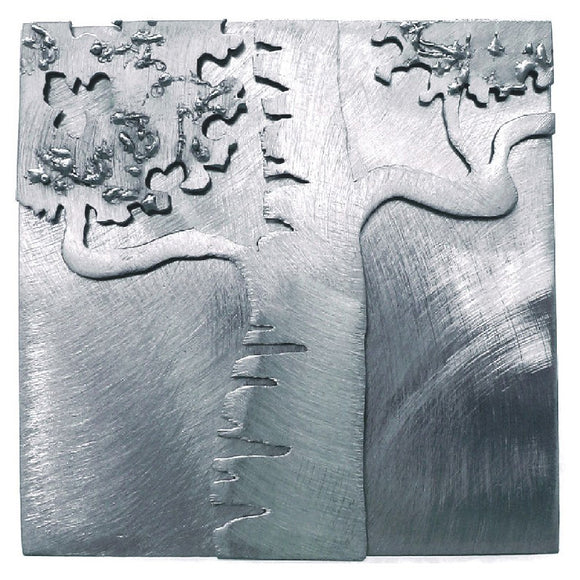 Metallic Evolution Steel Birch Tree Tile TLBT-66, Artistic Artisan Sculptural Metal Wall Art