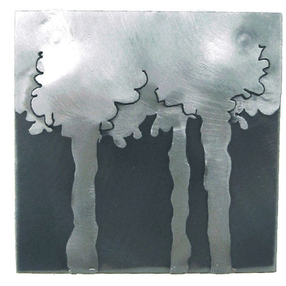 Metallic Evolution Steel Deep Woods Tile TLDW-66, Artistic Artisan Sculptural Metal Wall Art