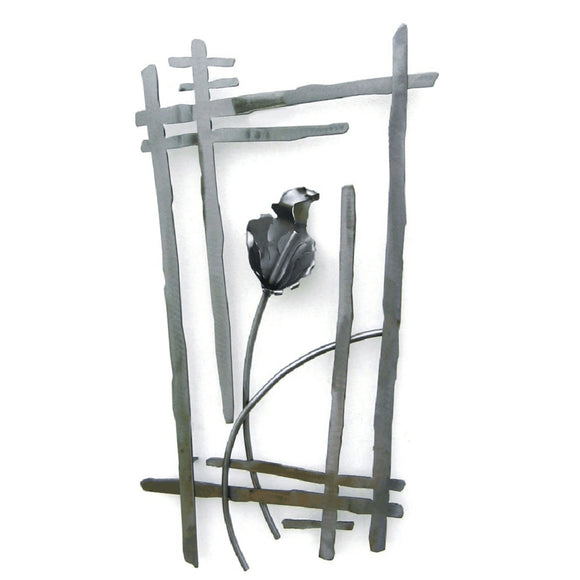 Metallic Evolution Steel Lily Wall Flower Sculpture WFL-830, Artistic Artisan Metal Wall Art