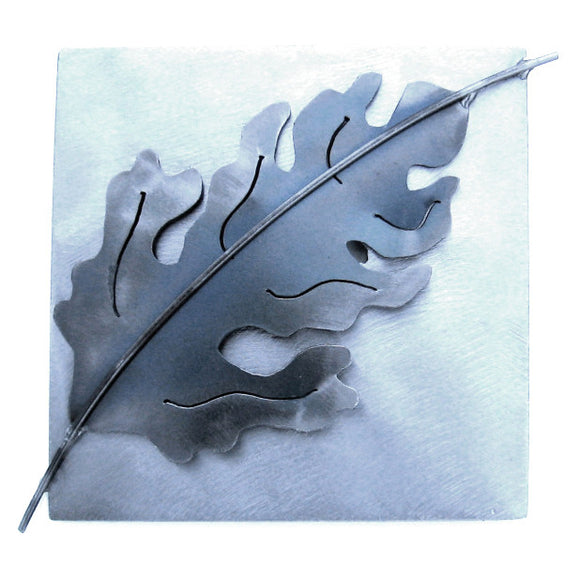 Metallic Evolution Steel Oak Leaf Tile TLOL-66, Artistic Artisan Sculptural Metal Wall Art