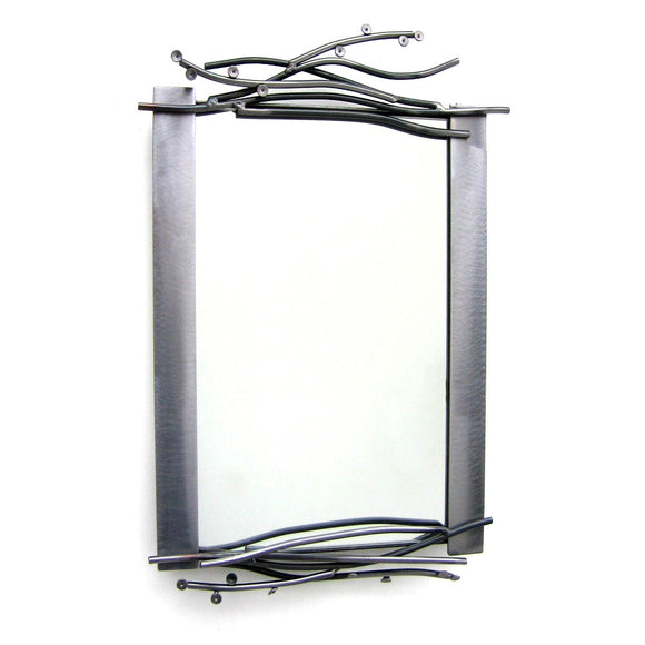 Metallic Evolution Steel Twig Mirror Large MTW-523, Small MTW-115, Artistic Artisan Designer Mirrors