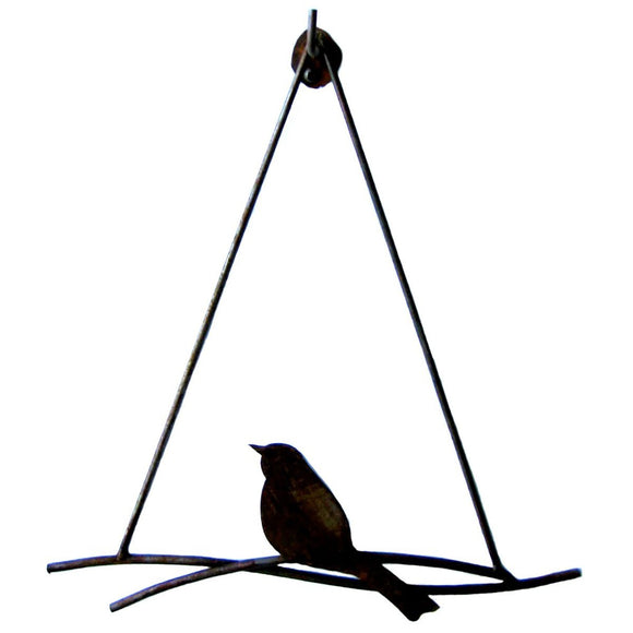 Metallic Evolution Steel or Natural Rust Finish Bird Branch Artisan Crafted Sculptural Wall or Hanging Art