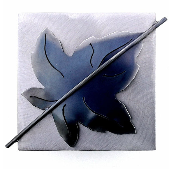 Metallic Evolution Sycamore Leaf Stainless Steel Tile Artisan Crafted Sculptural Wall Art