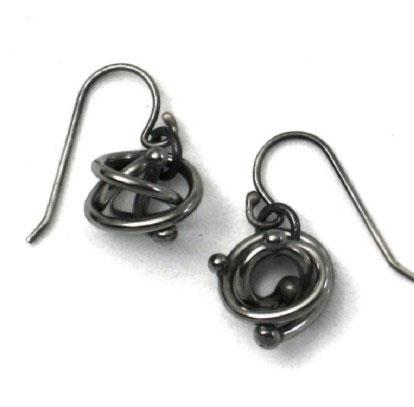 Metallic Evolution Tangled Bead Stainless Steel Earrings Artisan Crafted jewelry