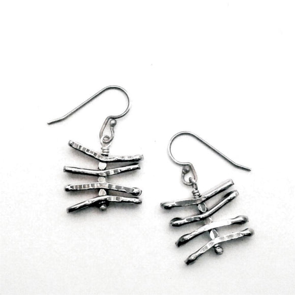 Metallic Evolution Zebra Large Stainless Steel Earrings Artisan Crafted Jewelry