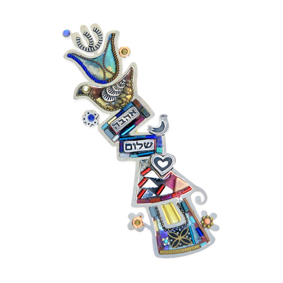 Mezuzahs, Seeka Love and Peace Mezuzah 1451719 Hand Painted Stainless Steel Austrian Crystal Beads Artistic Artisan Judaica
