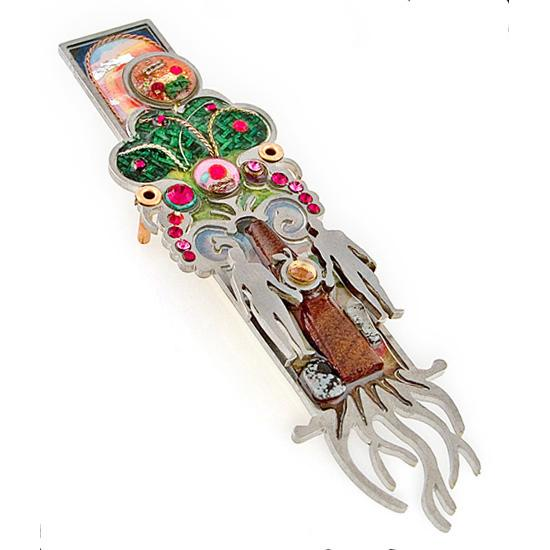 Mezuzahs, Seeka Adam and Eve Mezuzah 1450254, Hand Painted, Stainless Steel, Austrian Crystal, Beads, Artistic Artisan Judaica
