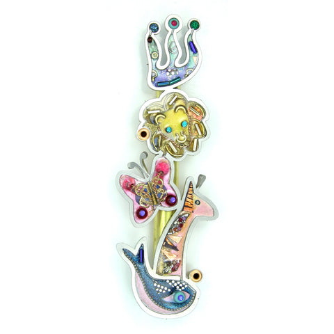 Mezuzahs, Seeka Animals Of Noah's Ark Mezuzah 1450806, Hand Painted, Stainless Steel, Austrian Crystal, Beads, Artistic Artisan Judaica