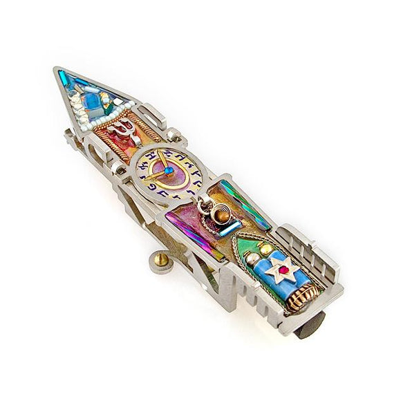 Mezuzahs, Seeka Clock Tower Mezuzah 1450450 Hand Painted, Stainless Steel, Austrian Crystal, Beads, Artistic Artisan Judaica
