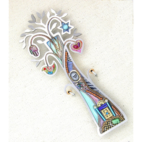 Mezuzahs, Seeka Tree of Life Mezuzah 1450954 Hand Painted Stainless Steel Austrian Crystal Beads Artistic Artisan Judaica