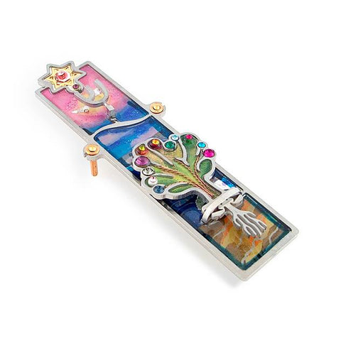 Mezuzahs, Seeka Tree Of Life Mezuzah 1459905, Hand Painted, Stainless Steel, Austrian Crystal, Beads, and Miscellaneous Materials, Judaica