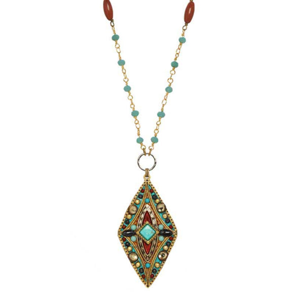 Michal Golan Hematite Red Jasper and Swarovski Crystals Pendant on 24K Gold Plated Brass and Crystal Necklace South West Collection N3819