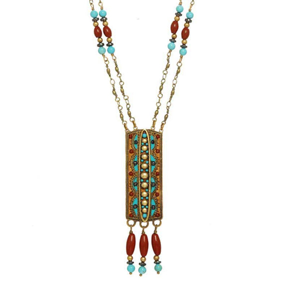 Michal Golan Hematite Red Jasper and Swarovski Crystals Pendant on 24K Gold Plated Brass and Crystal Necklace South West Collection N3820