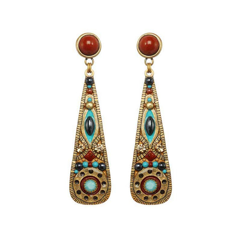 Michal Golan Hematite Red Jasper and Swarovski Crystals on 24K Gold Plated Brass Earrings South West Collection S8093