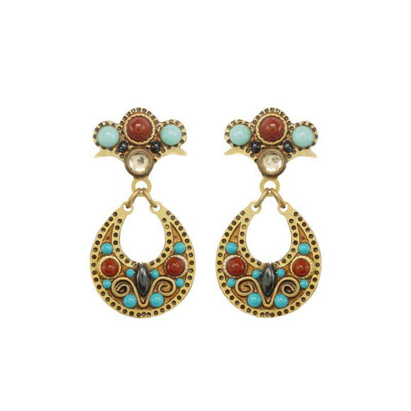 Michal Golan Hematite Red Jasper and Swarovski Crystals on 24K Gold Plated Brass Earrings South West Collection S8094