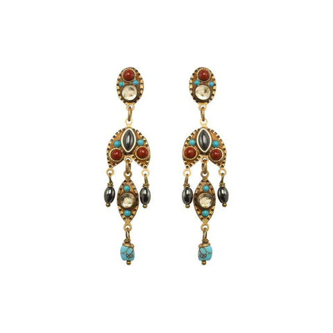 Michal Golan Hematite Red Jasper and Swarovski Crystals on 24K Gold Plated Brass Earrings South West Collection S8104