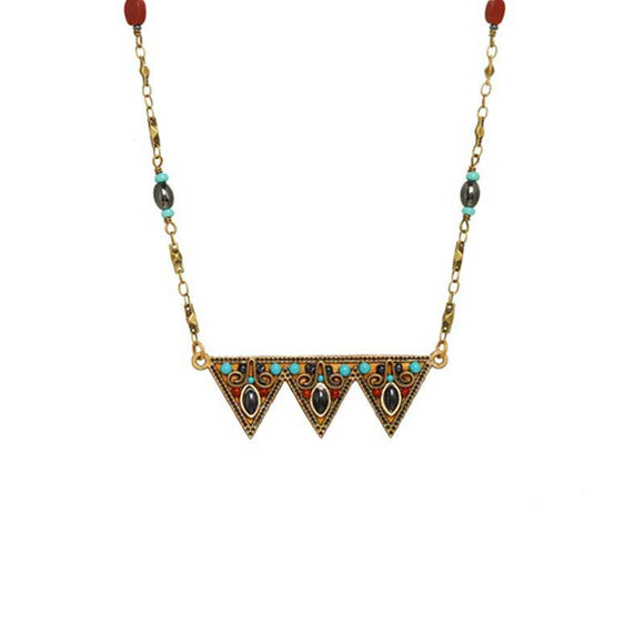 Michal Golan Hematite Red Jasper and Swarovski Crystals on 24K Gold Plated Brass and Crystal Necklace South West Collection N3810