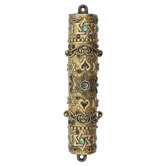 Michal Golan Mezuzah MZ10 with Abalone and Iolite on 24K Gold Electroplated Brass
