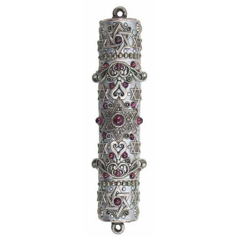 Michal Golan Mezuzah MZ11 with Garnets on Sterling Silver Electroplated Brass