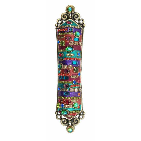 Michal Golan Mezuzah MZ41 with Multcolored Enamel Swarovski Crystals and Glass Beads on 24K Electroplated Brass