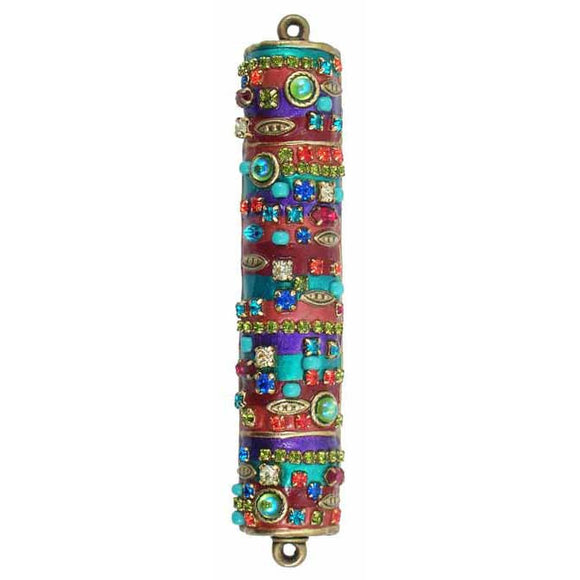 Michal Golan Mezuzah MZ43 with Multicolored Enamel Swarovski Crystals, and Glass Beads on 24K Gold Electroplated Brass