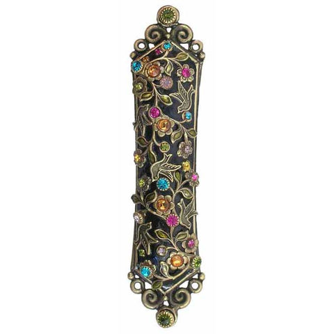 Michal Golan Mezuzah MZ66 with Swarovski Crystals and Glass Beads on 24K Gold Electroplated Brass