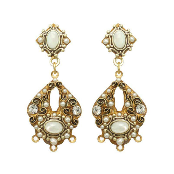 Michal Golan Mother Pearl Cabochons, Freshwater Pearls & Swarovski Crystal on 24K Gold Plated Brass Earrings Elegante Collection S8124