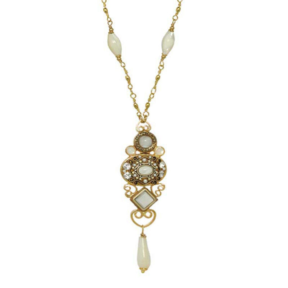 Michal Golan Mother Pearl Cabochons, Freshwater Pearls & Swarovski Crystal on 24K Gold Plated Brass Pendant with Pearl Beaded Chain Necklace Elegante Collection N3849