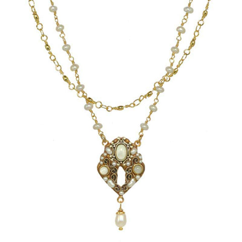 Michal Golan Mother Pearl Cabochons, Freshwater Pearls & Swarovski Crystal on 24K Gold Plated Brass Pendant with Pearl Beaded Chain Necklace Elegante Collection N3854
