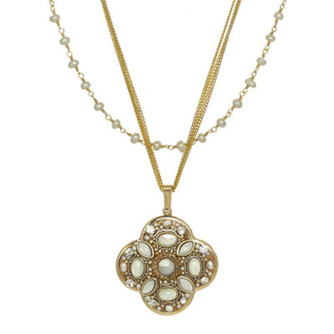 Michal Golan Mother Pearl Cabochons, Freshwater Pearls & Swarovski Crystal on 24K Gold Plated Brass Pendant with Pearl Beaded Chain Necklace Elegante Collection N3855