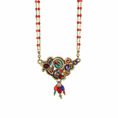 Michal Golan Red Turquoise and Blue Swarovski Crystal Embedded onto 24k Gold Plated Brass Pendant on Double Beaded Chain Necklace Confetti Collection N3137