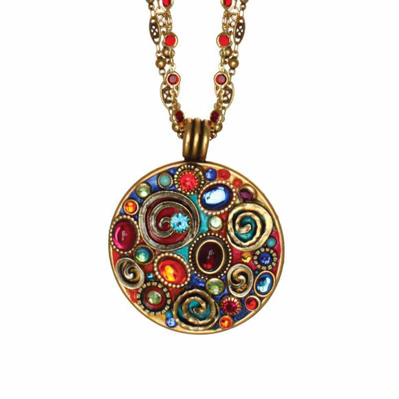 Michal Golan Red Turquoise and Blue Swarovski Crystal Embedded onto 24k Gold Plated Brass Pendant on Double Chain Necklace Confetti Collection N3133