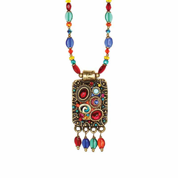Michal Golan Red Turquoise and Blue Swarovski Crystal Embedded onto 24k Gold Plated Brass Pendant on Double Chain Necklace Confetti Collection N3134