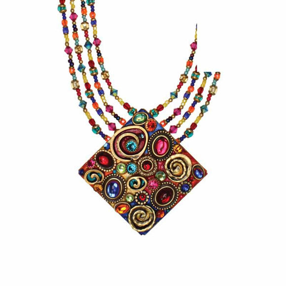 Michal Golan Red Turquoise and Blue Swarovski Crystal Embedded onto 24k Gold Plated Brass Pendant on Four Beaded Strands Necklace Confetti Collection N3136