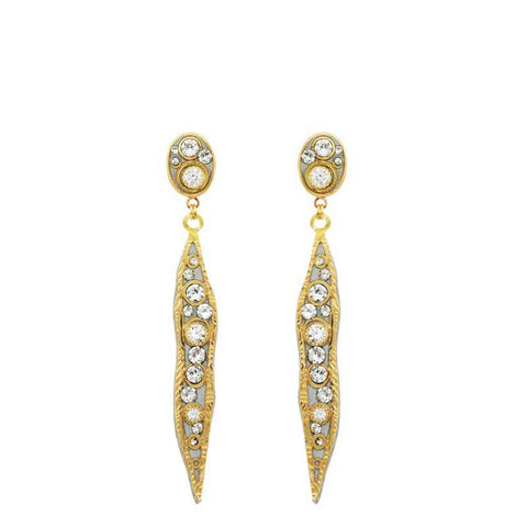 Michal Golan Swarovski Crystal on 24K Gold Plated Brass Earrings Icicle Collection S8078